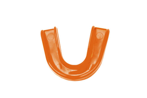 A bright orange sports guard used to protect teeth.